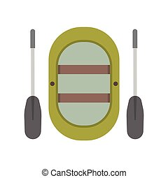 Inflatable boat vector illustration. Rafting boat icon...