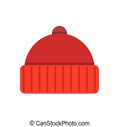 Knitted red cap - Winter cap icon flat icon vector...