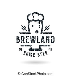 Craft beer brewery emblem with shabby texture Black print on...