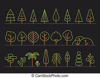 Different trees collection Lineart design set