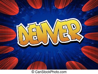 Denver - Comic book style word on comic book abstract...