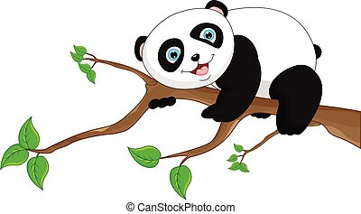Cute funny baby panda - vector illustration of Cute funny...