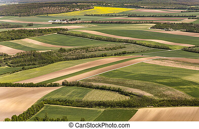 view of agricultural landscape at vienna - aerial view of...
