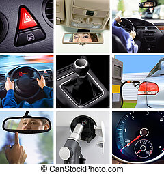 transport attributes - collage of car interior details and...
