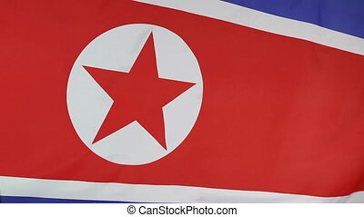 Closeup of North Korean flag in the wind