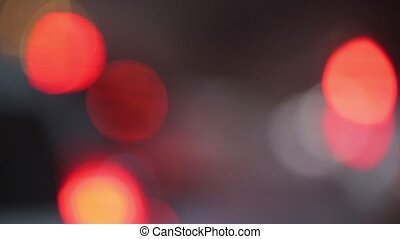 Bokeh night traffic - Flashing light spot rays lumiere and...