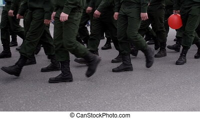 soldiers marching through the city - Foot soldiers marching...
