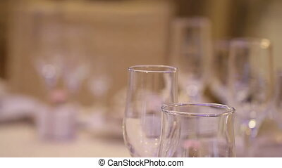 Table at restaraunt with glasses - Empty Table at restaraunt...