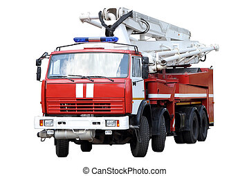 Red fire truck. - Red fire truck isolated on white...