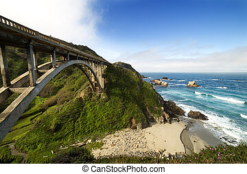 Bixby Bridge at Pacific Coast as part of Road Number 1,...