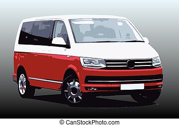 Red and White German Van with Tinted Windows