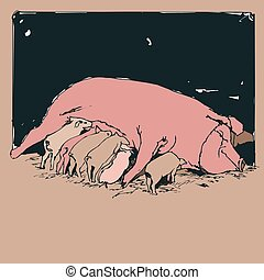 Vector Drawing of A Mother Pig Suckling Her Piglets