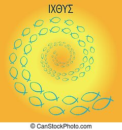 Vector Illustration Icthus Blue Spiral With Yellow Gradint...