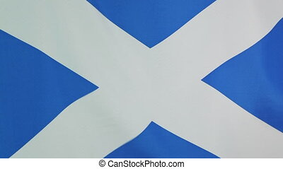 Flag of Scotland in slow motion - Textile national flag of...