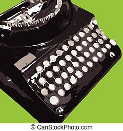 Portable antique typewriter vector illustration
