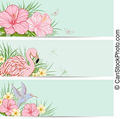 Green nature backgrounds - Horizontal tropical banners with...