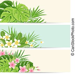 Tropical banners with green leaves