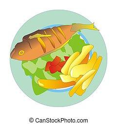 Mediterranean fish and chips - Mediterranean grilled fish...