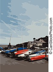 Boats at Cwm Yr Eglwys, Pembrokeshire, Wales, the church was...