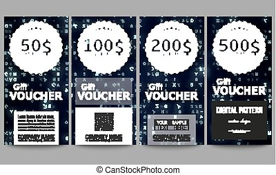 Set of modern gift voucher templates. Virtual reality, abstract technology background with blue symbols, vector illustration