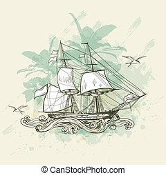 Vintage background with ship.