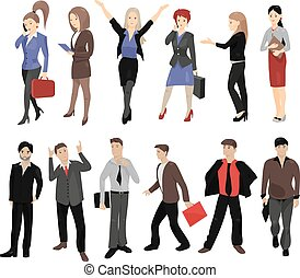 Set of full length portraits of business people isolated on...