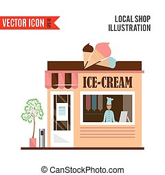 Ice cream detailed flat design cafe icon - Ice-cream...