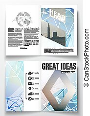Set of business templates for brochure, magazine, flyer, booklet or annual report. Abstract colorful polygonal backdrop with blurred image, modern stylish triangular vector texture
