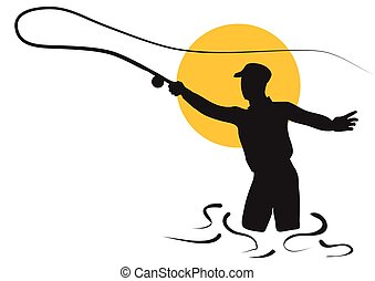fly fishing silhouette of man isolated on white background