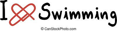 Swimming love icon