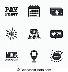 Cash and coin icons Money machines or ATM - Calendar, like...