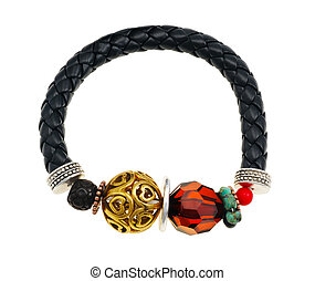 Bracelet woven from black leather straps, isolated