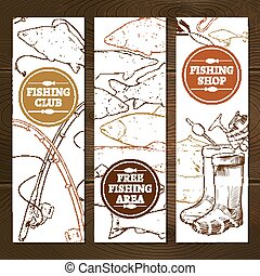 Fishing Vertical Banners Set - Fishing Sketch Concept....