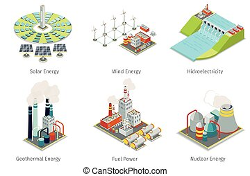 Power plant icons. Electricity generation plants and...