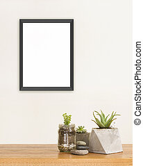 Succulent and frame mockup - Succulent green plants stones...