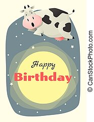 Birthday and invitation card animal background with...