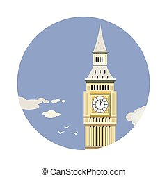 Big Ben tower closeup with clouds icon isolated on white...