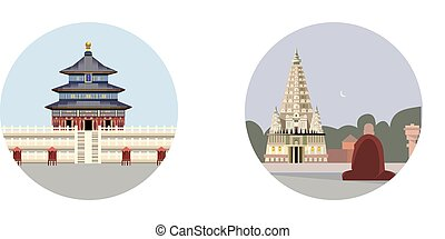 Temple of mahabodhi icon isolated on white background....