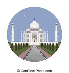 Taj Mahal palace icon - Taj Mahal icon isolated on white...