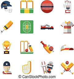 Cricket Icons Set Cricket Vector Illustration Cricket Flat...