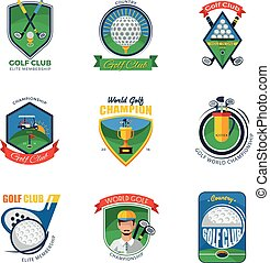 Golf Labels Set Golf Emblems Set Golf Vector Illustration...