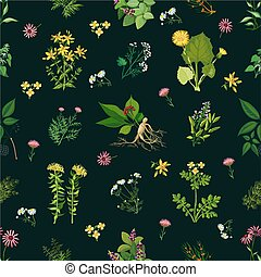 Medicinal Herbs Seamless Pattern - Seamless color pattern...