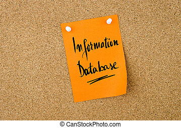 Information Database written on paper note