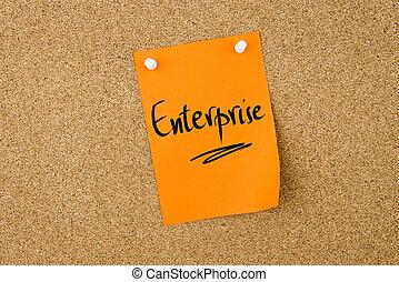 Enterprise written on paper note