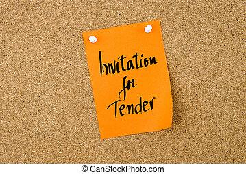 Invitation For Tender written on orange paper note