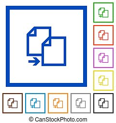 copy document framed flat icons - Set of color square framed...