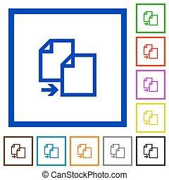 copy document framed flat icons - Set of color square framed...