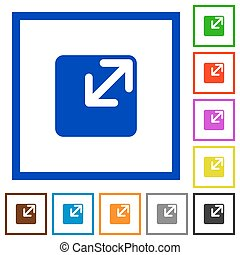 Resize window framed flat icons - Set of color square framed...