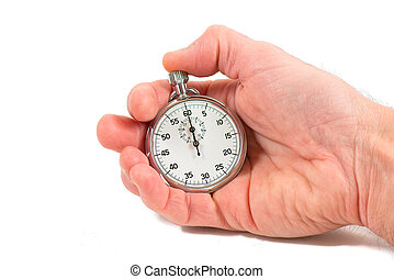 Hand holding stopwatch ready to shoot. On white background