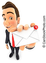 3d businessman receiving one new message, isolated white...